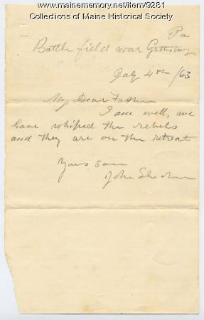 Letter from John Sheahan to his father, 1863