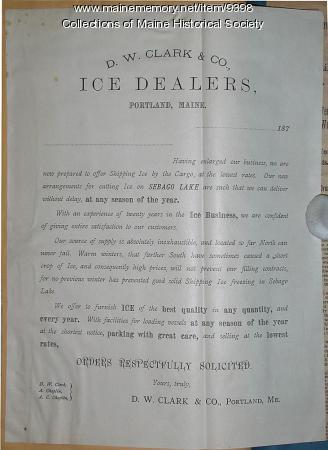 D.W. Clark & Co. Advertisement, ca. 1870