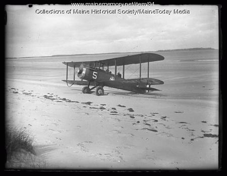 Biplane, Old Orchard Beach, ca. 1927