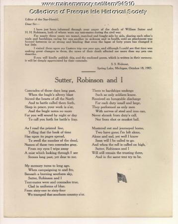 Civil War remembrance poem, Presque Isle, 1905
