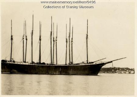 Tall Ships Moored at Boothbay Harbor, ca. 1920s