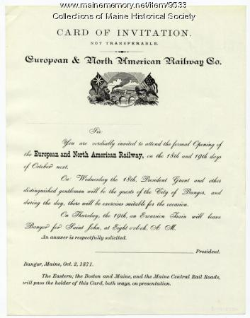 Invitation to railway opening, Bangor, 1871