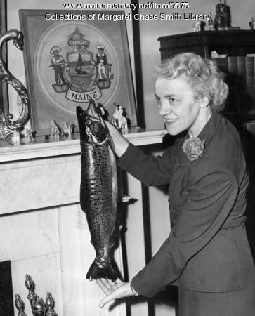 Margaret Chase Smith with salmon, Washington, D.C., 1951