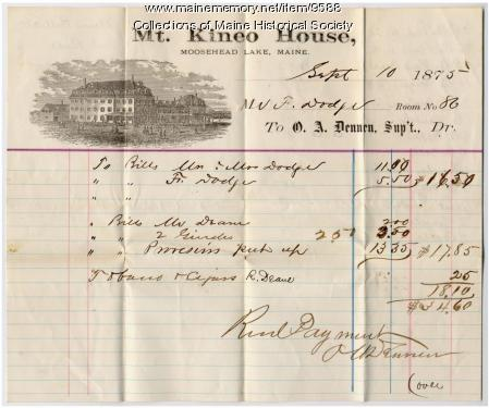 Mt. Kineo House Bill, Sept. 10, 1875