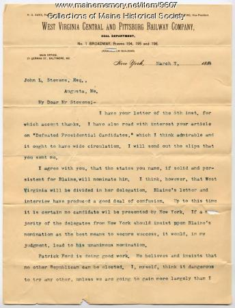 Letter from S.B. Elkins to John L. Stevens, 1888