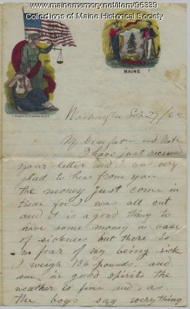 Pvt. John Sheahan letter to parents, Washington, D.C., 1862
