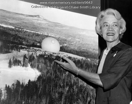Margaret Chase Smith shows off Telstar