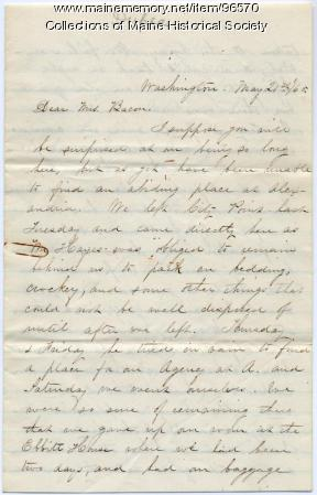 Mary Dupee letter to Ellen Bacon, Washington, D.C., 1865