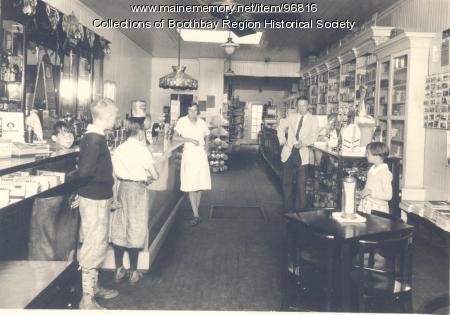 Interior of Porter's drug store, Boothbay Harbor, ca. 1930