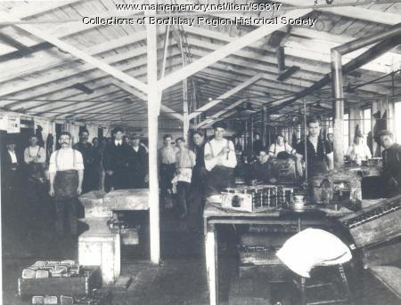 Sardine packing plant interior, Boothbay Harbor, ca. 1890