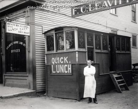 Quick Lunch Diner,  Washington Street, Sanford, About 1910