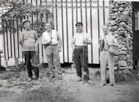 Four Fishermen at a Camp, ca. 1900