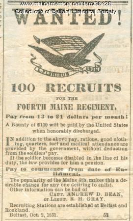 Recruitment Ad, Belfast, 1861
