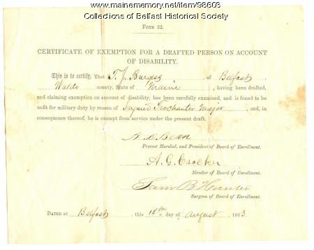 Thomas J. Burgess, Certificate of Exemption, Belfast, 1863