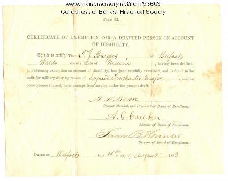 Item 98608 - Thomas J. Burgess, Certificate of Exemption, Belfast ...