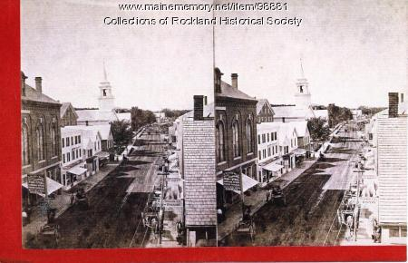 Main Street north from top of Wise's Block, Rockland, ca. 1875