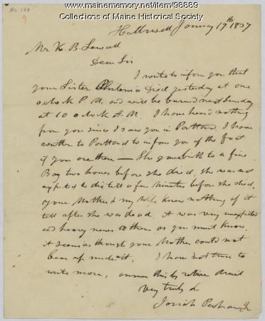 Letter concerning Philenia Mitchell's death, Hallowell, 1837