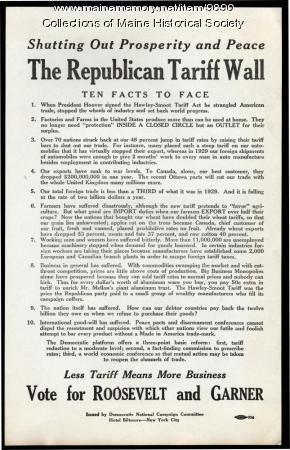 Broadside announcing Franklin D. Roosevelt's presidential campaign platform, ca. 1932