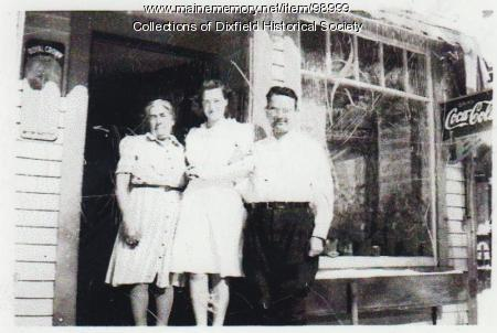 Blanche, Emily, and Kenneth Frost, Main Street, Dixfield, 1940