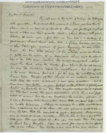 Kiah B. Sewall to wife on weaning daughter, New York, 1838