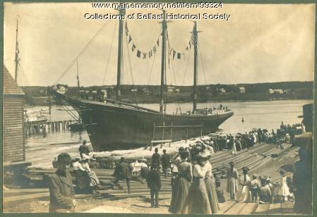 """Launching of schooner """"Theoline #1,"""" Belfast, 1900"""
