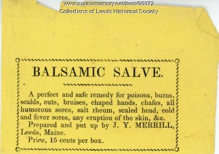 Balsamic salve advertisement, ca. 1860