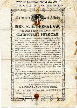 Handbill for clairvoyant physician, North Turner, 1861