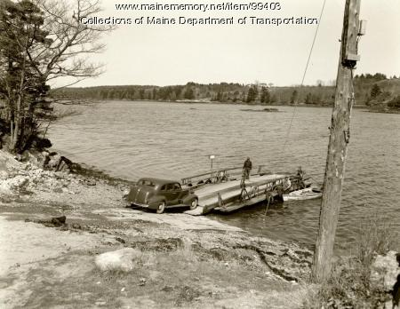 Vehicle loading on Westport Ferry, Wiscasset, 1941