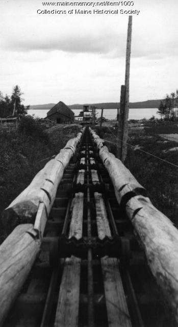 Log tram-way between Chamberlain and Eagle Lakes, 1908