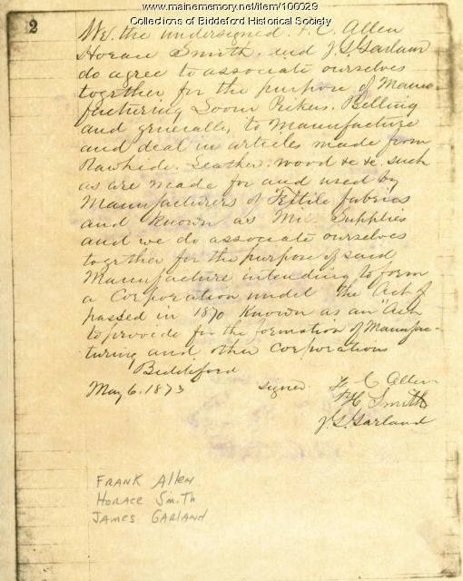 Agreement to Associate, Biddeford, 1873