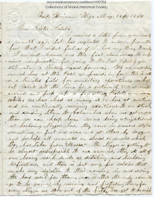 John O. Crummett letter about black soldiers, war, Kentucky, 1863