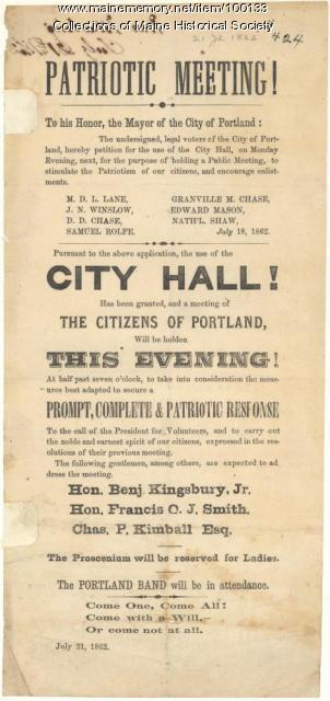 Patriotic meeting broadside, Portland, 1862