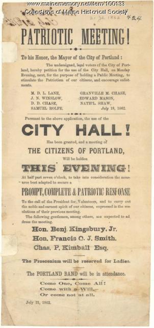 Patriotic meeting broadside, Portland, 1862