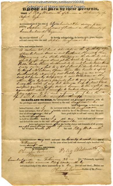 Peleg Wadsworth deed of land to Stephen Longfellow, Portland, 1827