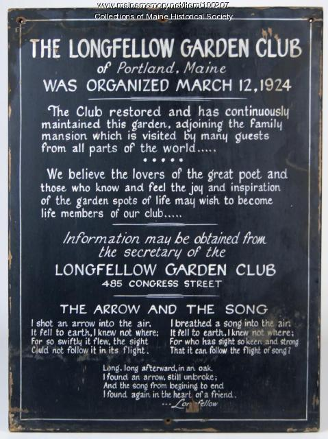 Longfellow Garden Club sign, Portland, ca. 1924