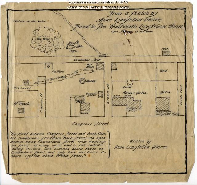 Anne L. Pierce sketch of Longfellow house site, Portland, ca. 1905