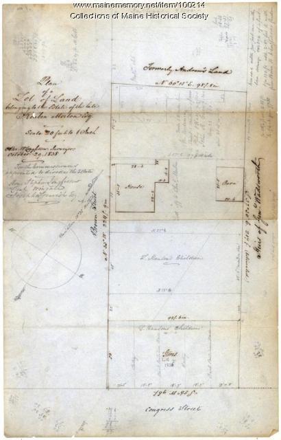 Alexander W. Longfellow site drawing, Portland, 1838