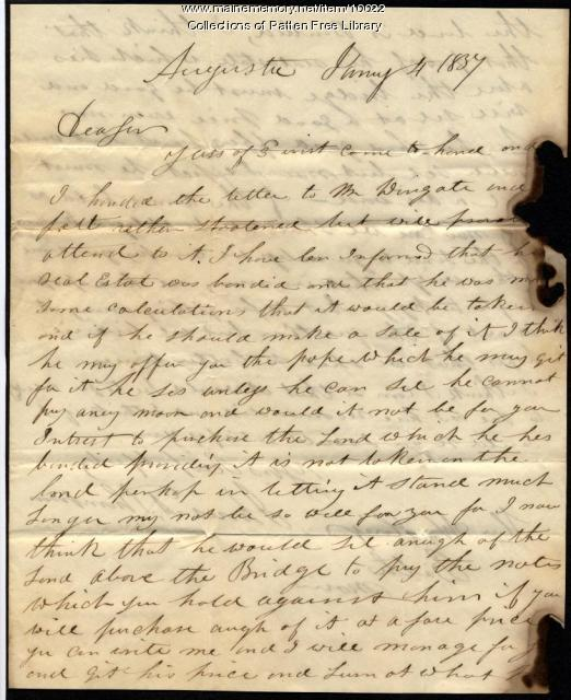 James A. Thompson to Gov. King, 1837