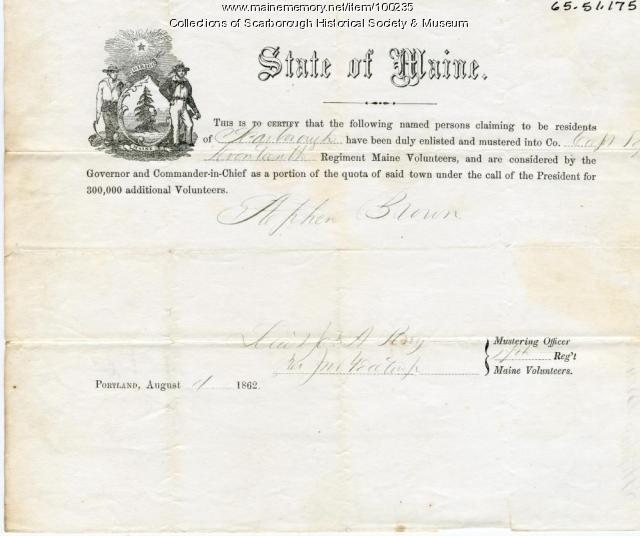 Stephen Brown enlistment certification, Scarborough, 1862
