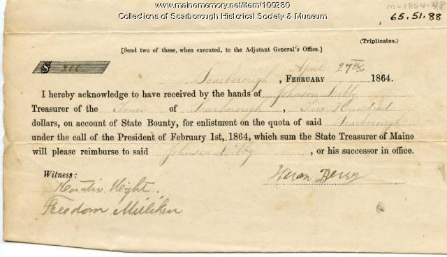 Hiram Berry enlistment receipt, Scarborough, 1864
