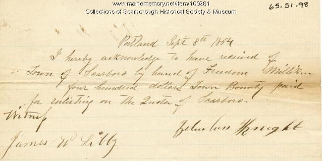 Zebulon Knight enlistment receipt, Scarborough, 1864