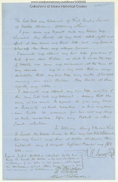 Kiah B. Sewall signed will, Mobile, 1852
