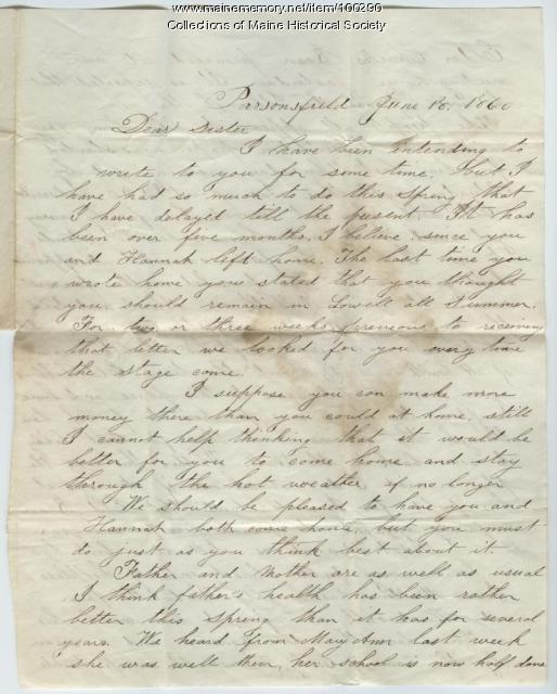 Lorenzo Moulton letter to sister, Parsonsfield, 1860
