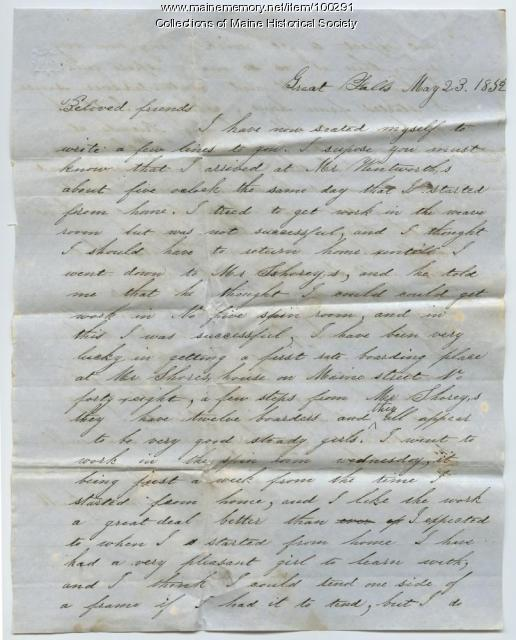 Martha J. Moulton letter about mill work, New Hampshire, 1852