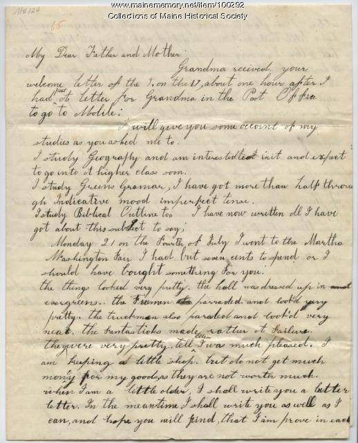 Eunice Sewall and Eunice Day letter to Sewalls, Portland, 1845