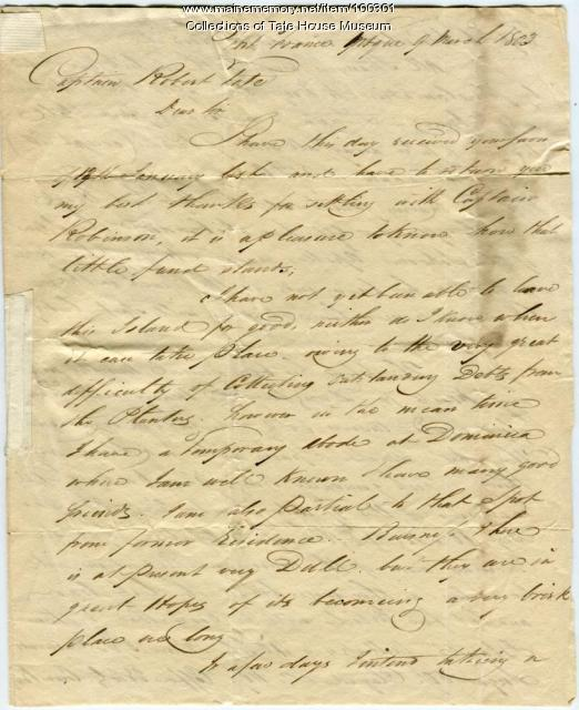 Letter from J.W. Jones to Robert Tate, West Indies, 1803