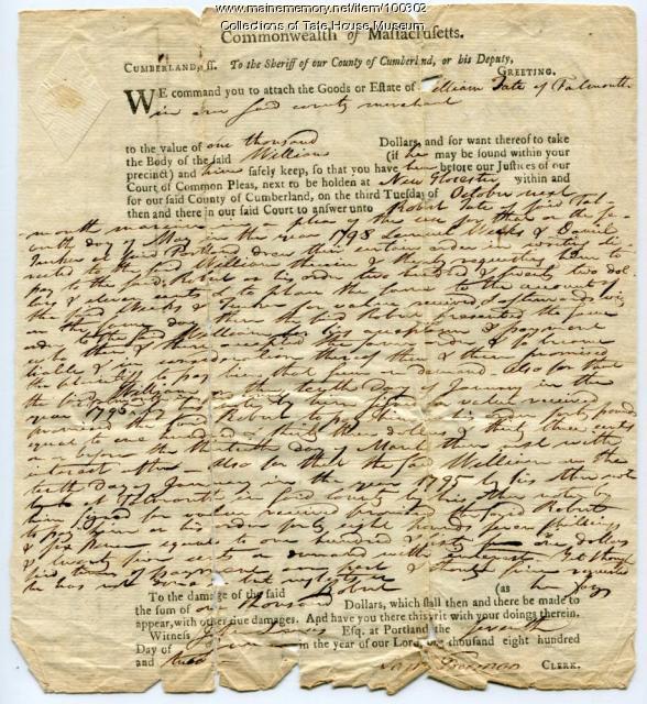 Bankruptcy arrest warrant, Portland, 1802