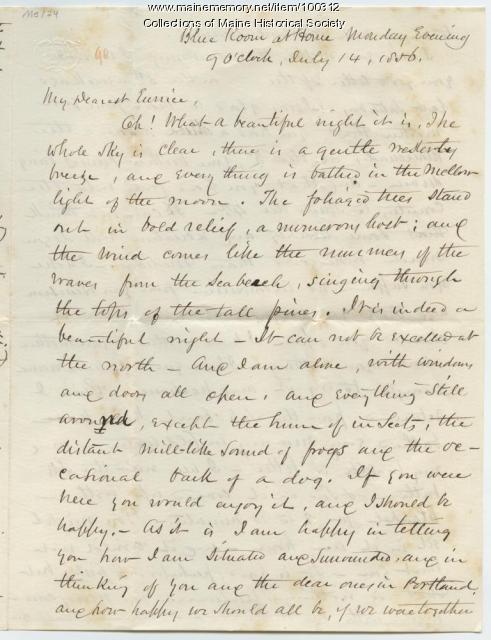 Kiah Sewall advice on cold baths, Mobile, 1856
