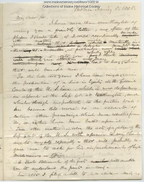 K.B. Sewall draft of letter to Phineas Barnes, Mobile, 1858