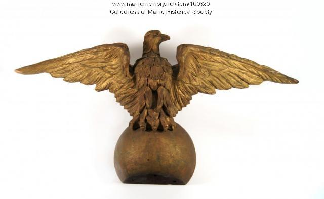 Carved eagle for Anshe Sfard synagogue Torah ark, Portland, ca. 1917